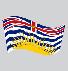Flag of british columbia waving on gray background vector