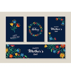 Happy mothers day set of flower labels and cards vector