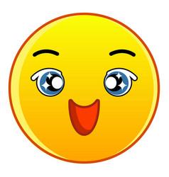 Happy yellow emoticon icon cartoon style vector