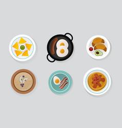 Healthy breakfast food top view vector