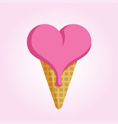 Ice cream in the shape of heart vector