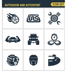 Icons set premium quality of autoshow and vector image
