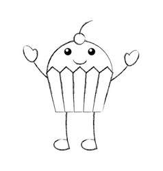 kawaii fun cupcake sweet cartoon food vector image