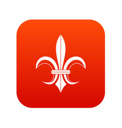 Lily heraldic emblem icon digital red vector