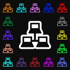 Local area network icon sign lots of colorful vector