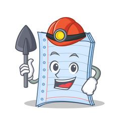 Miner notebook character cartoon design vector