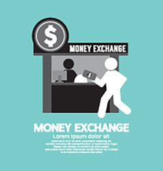 Money exchange service counter symbol vector