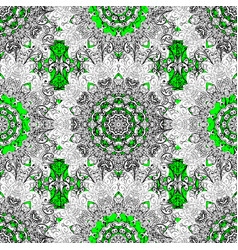 oriental ornament pattern on green and white vector image