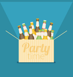 Party time box with beer flat vector