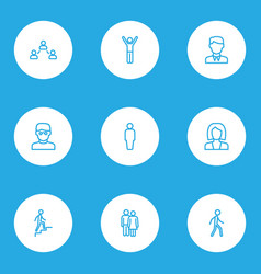 People outline icons set collection of worker vector
