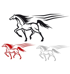 Racing arabian stallion vector image