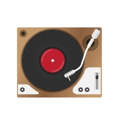 Record player with vinyl record isolated vector image