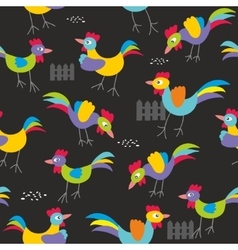 Seamless pattern with colorful roosters vector