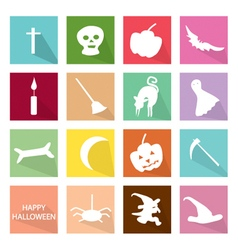 Set of 16 Happy Halloween Icons vector image