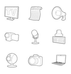 spread information icons set outline style vector image vector image