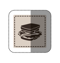 Sticker monochrome square with sandwich vector