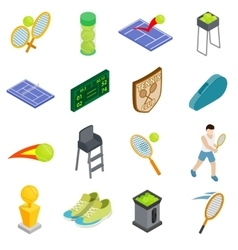 Tennis icons set isometric 3d style vector image vector image