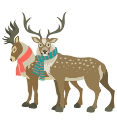 Two cute reindeers vector image vector image