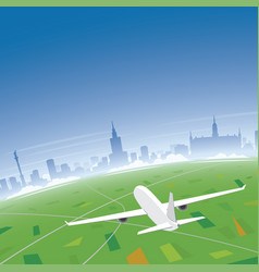 Warsaw skyline flight destination vector