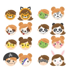 Kids faces face painting for kids vector