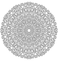 Adult coloring book lacy mandala black and white vector
