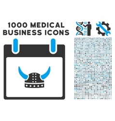 Horned helmet calendar day icon with 1000 medical vector