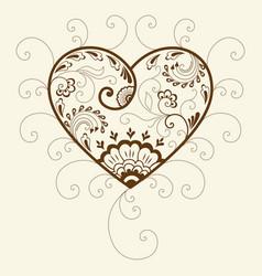 Of mehndi heart ornament traditional vector