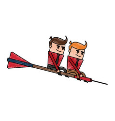 Color pencil cartoon teamwork riding an arrow to vector