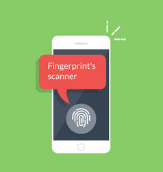 Smartphone unlocked with fingerprint button vector