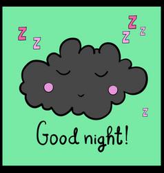 Cartoon gray sleeping cloud good night vector