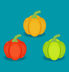 flat peppers set in different colors vector image