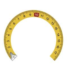 Yellow measuring tape in the shape of a horseshoe vector