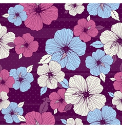 bouquet of hibiscus on purple background vector image