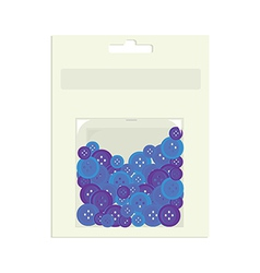 Blue buttons in packaging container vector