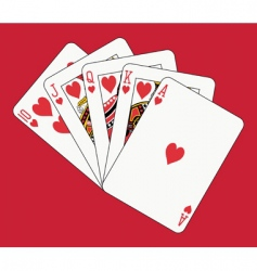 Royal flush hearts vector