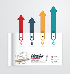 Infographic book open with bookmark arrow vector