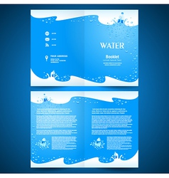 booklet catalog brochure folder water aqua splash vector image