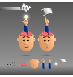3D set of two brain emotions vector image