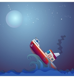 Steamship the storm ocean vector