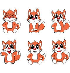 Set funny foxes cartoon vector