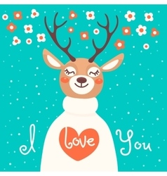 Valentine card with deer and declaration of love vector