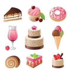sweets and candies icons set vector image