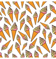 Fruity and vanilla ice cream seamlss pattern vector image