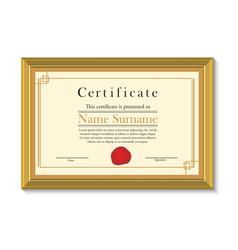 Certificate in golden frame vector image