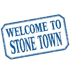 Stone town - welcome blue vintage isolated label vector