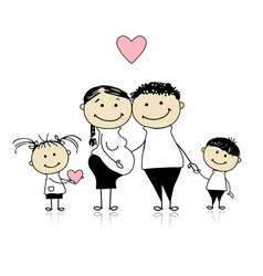 Happy parents with children vector