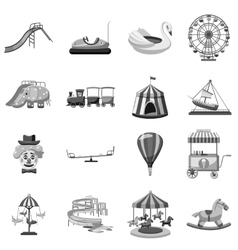Amusement park icons set gray monochrome style vector
