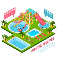 Aquapark isometric composition vector