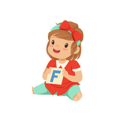 Baby girl playing learning game with letter f card vector
