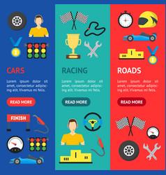 cartoon car racing banner vecrtical set vector image vector image